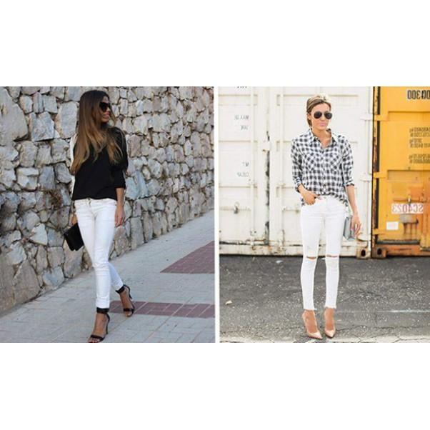 Как перфектно да съчетаем белите дънки?