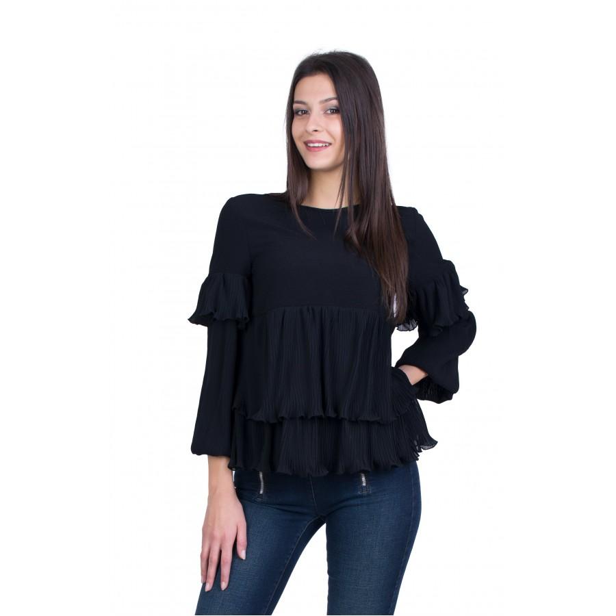 Черна Дамска Блуза Солей 20535 / 2021
