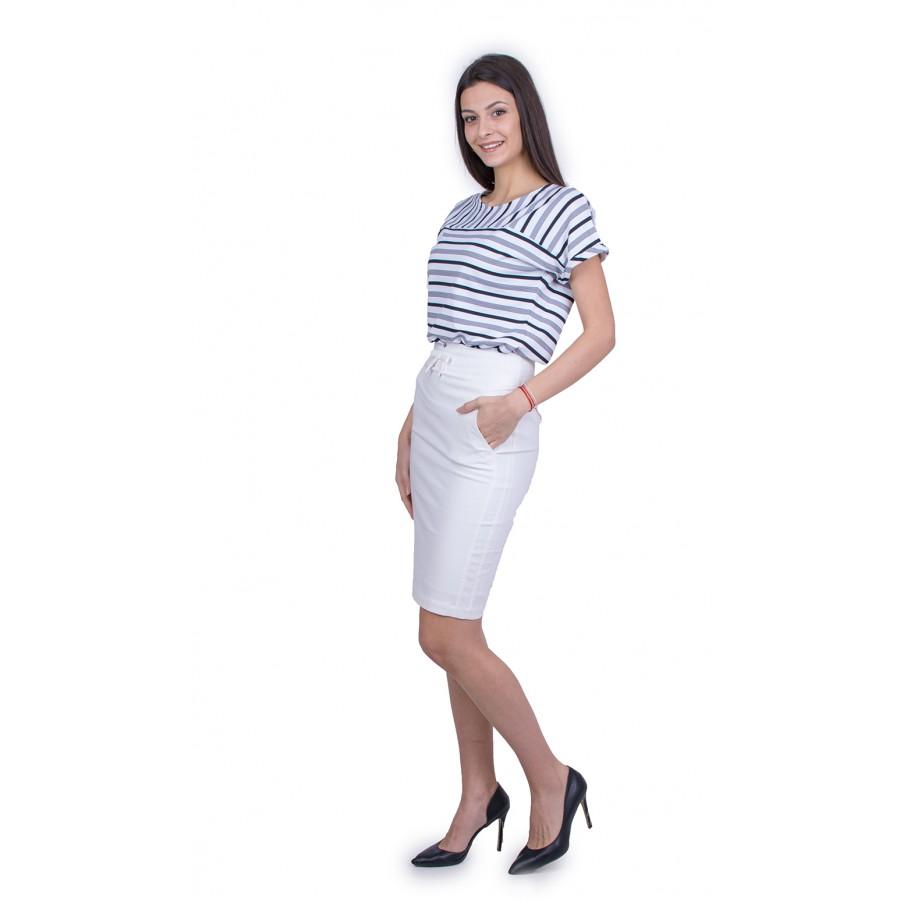 Дамски Комплект Блуза с Бяла Памучна Пола 21710