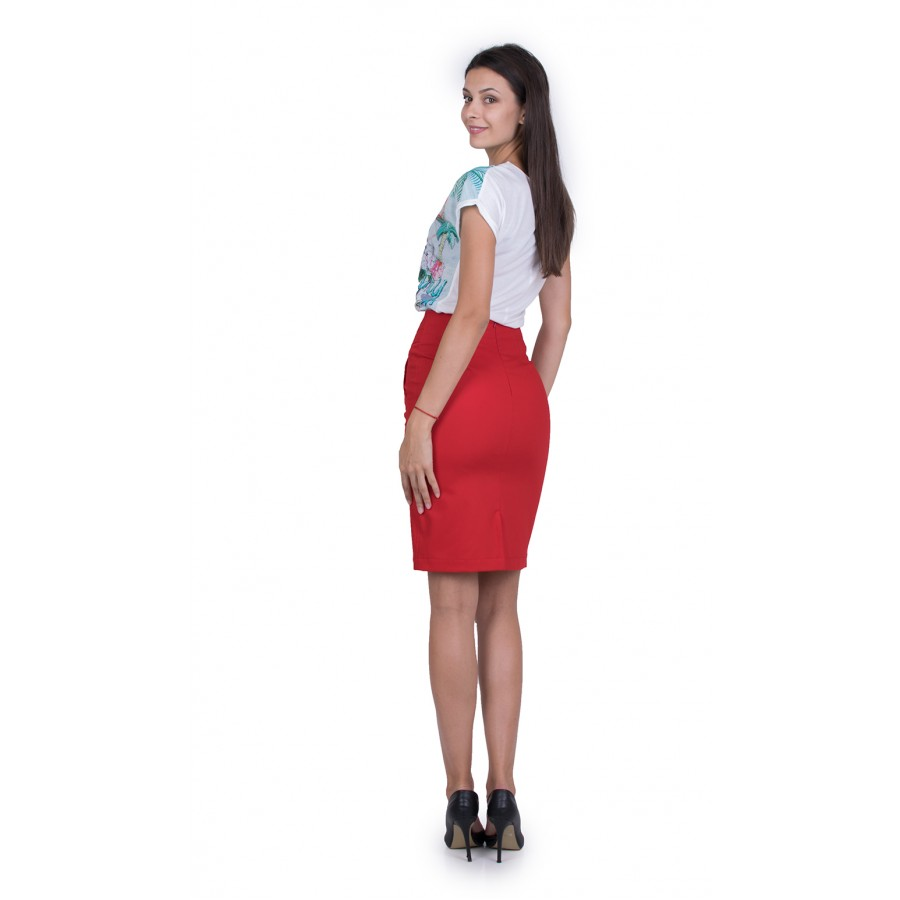 Дамски Комплект Блуза с Червена Пола 19216 - 151 / 2019