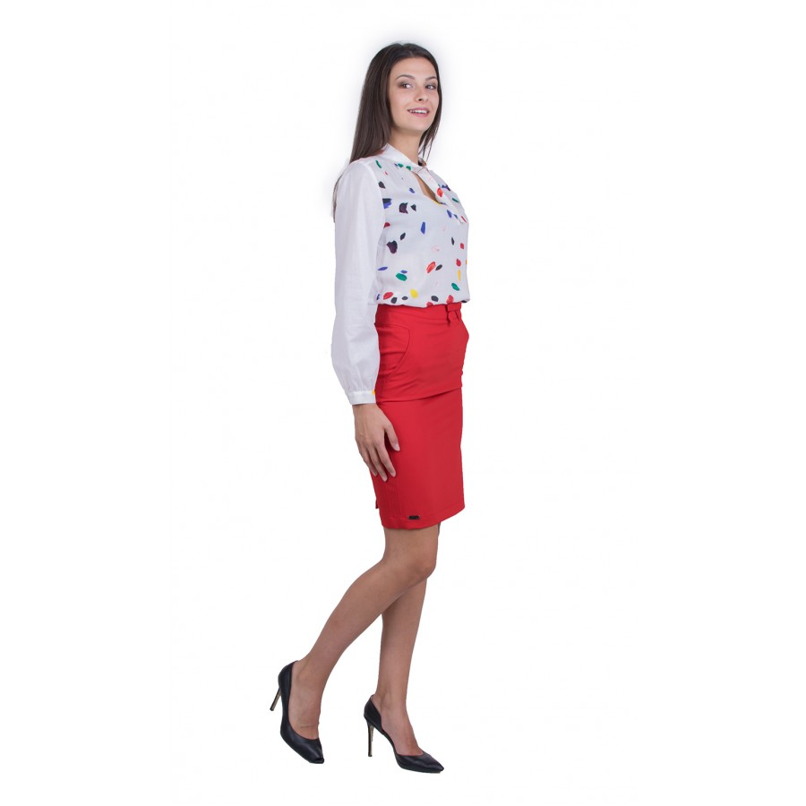 Дамски Сет Бяла Блуза с Червена Пола 20157 - 151