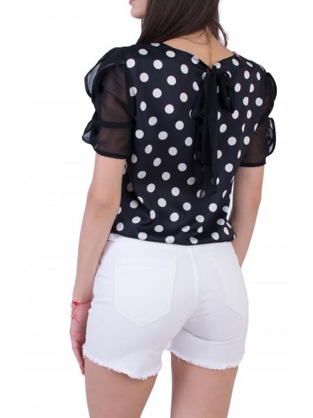 Черна Дамска Блуза с Къс Ръкав B 20119 / 2020