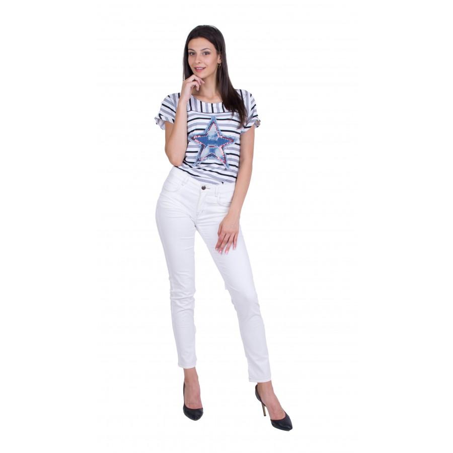 Дамски Комплект Блуза с Бял Памучен Панталон 19213 - 167 / 2019