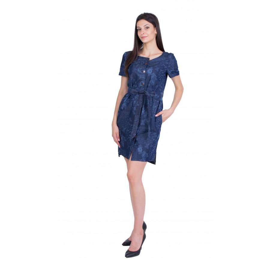 Women's Denim Dress with Flower Print 20281 / 2020