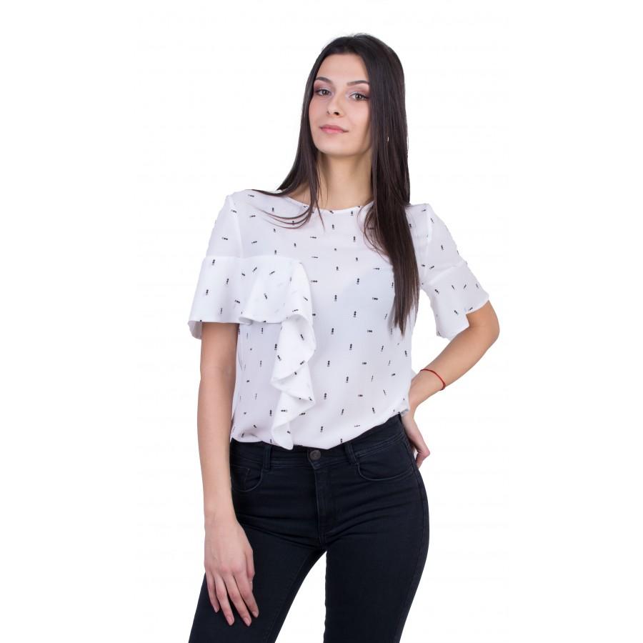 Бяла Дамска Блуза B 21112 / 2021