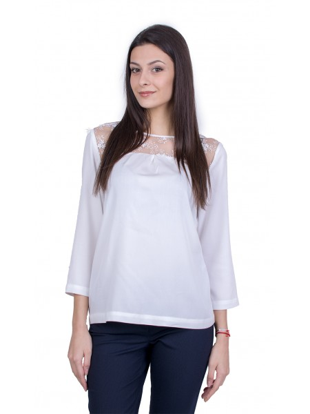 Бяла Дамска Официална Блуза с Дълъг Ръкав 21128 / 2021