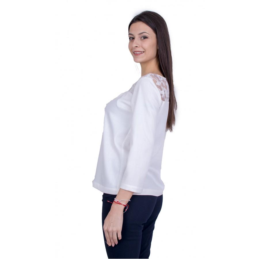Дамска Блуза Дълъг Ръкав с Дантела 21129 / 2021