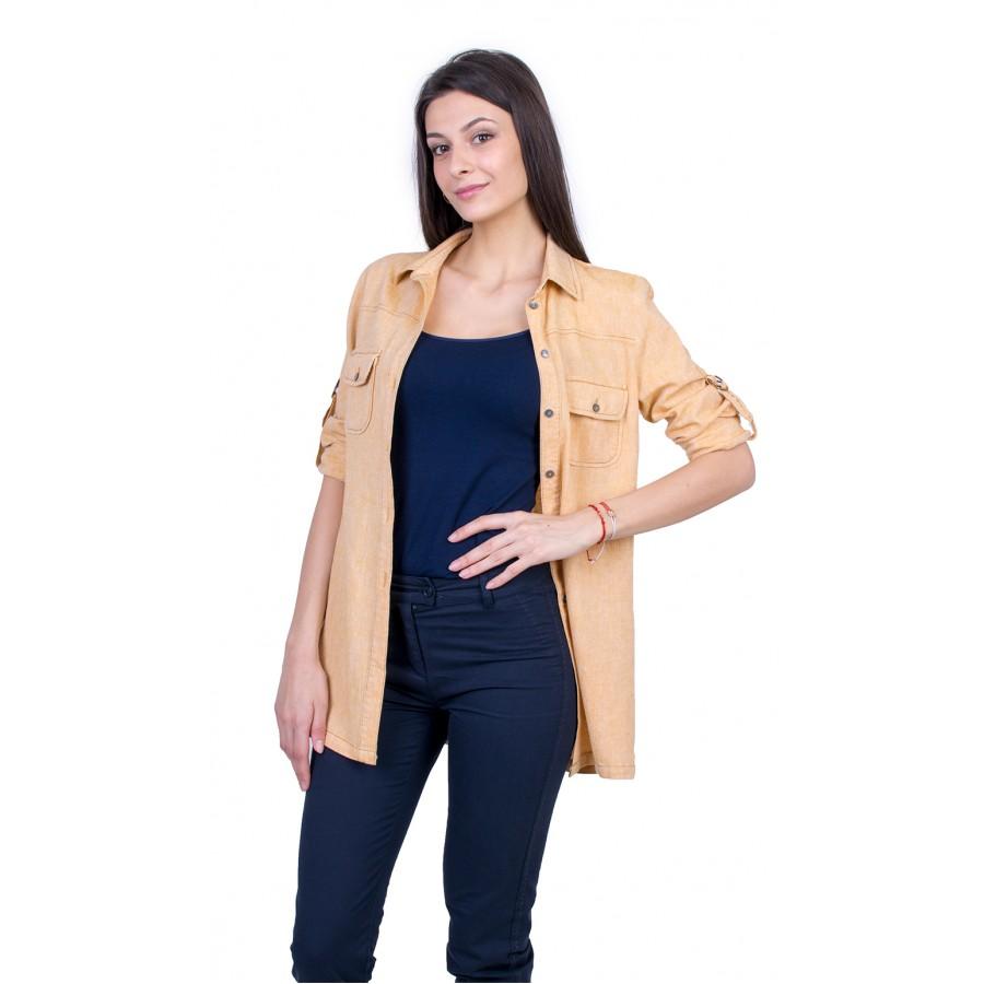 Жълта Дамска Риза с Дълъг Ръкав 21134 / 2021