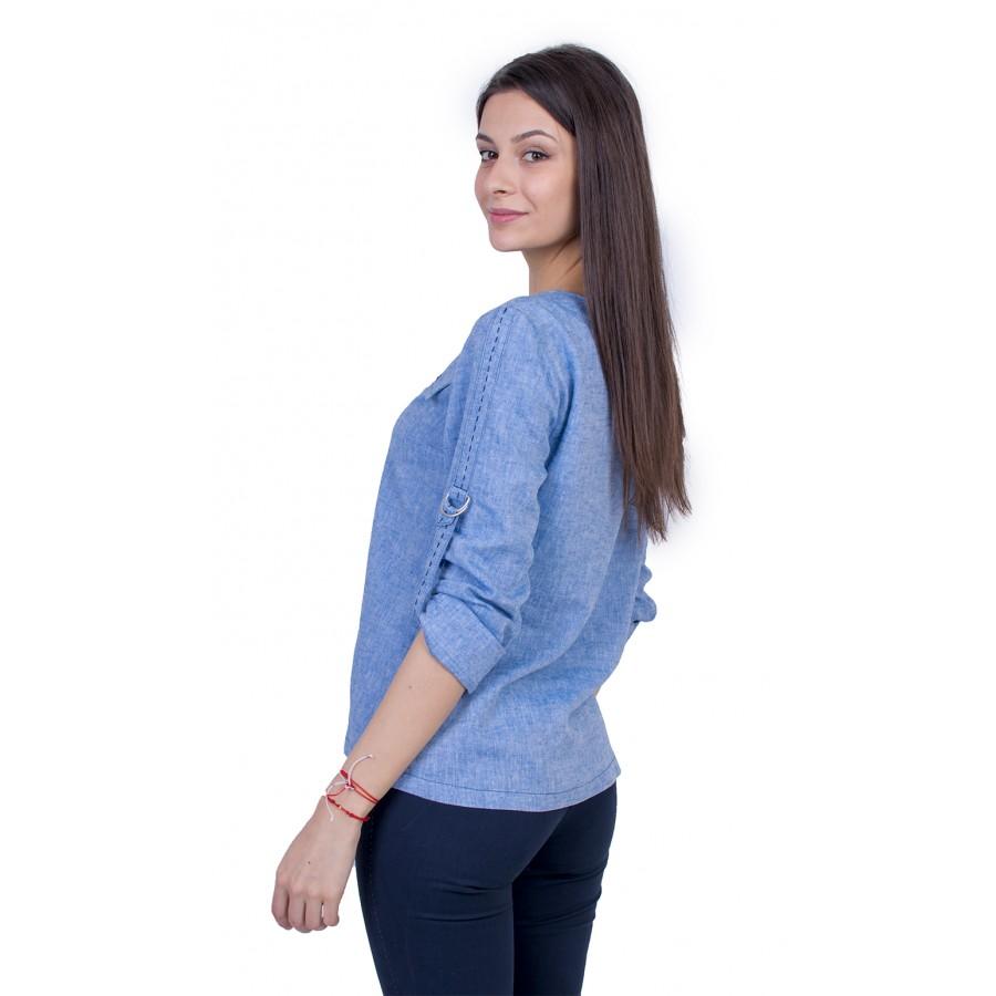 Светло Синя Дамска Блуза с Дълъг Ръкав 21136 / 2021