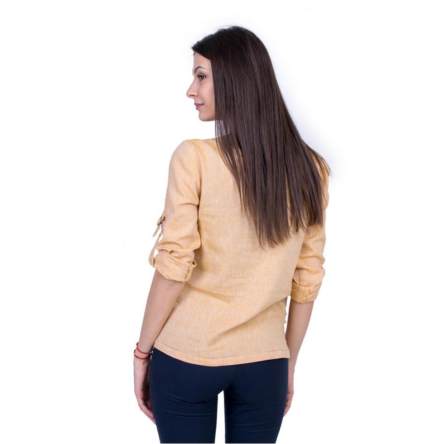 Жълта Дамска Блуза с Дълъг Ръкав 21137 / 2021
