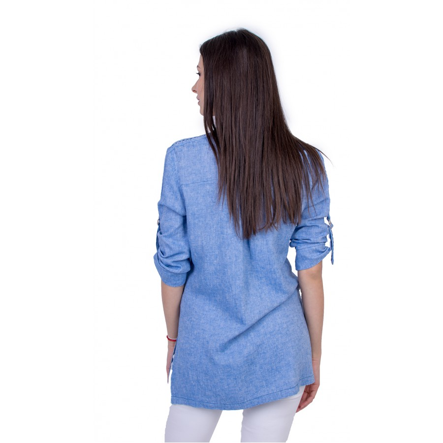 Светло Синя Дамска Риза с Дълъг Ръкав 21139 / 2021