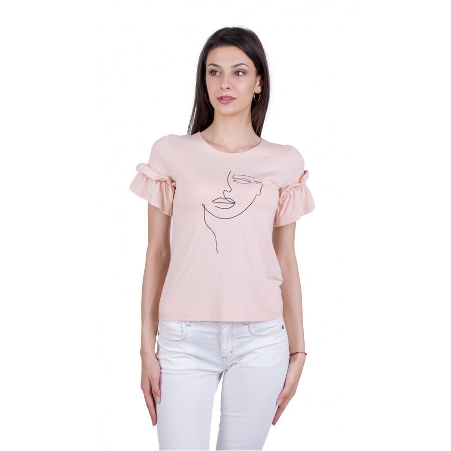 Дамска Тениска с Къс Ръкав B 21174 PINK / 2021