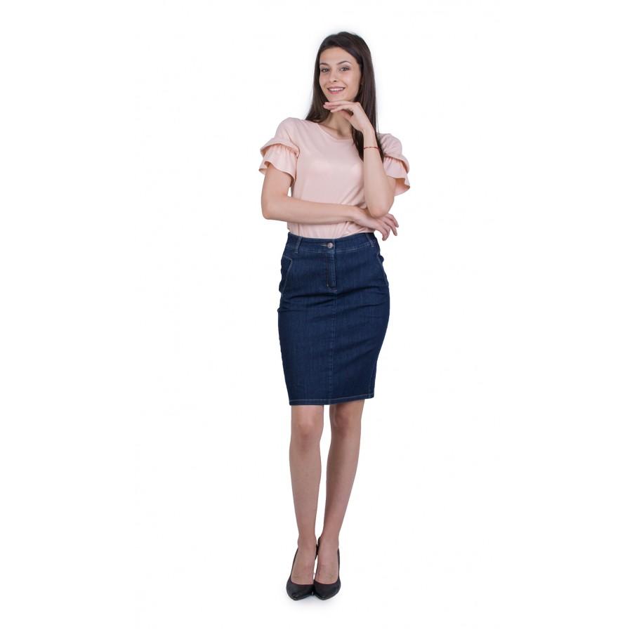 Дамски Комплект Блуза с Дънкова Пола 21807