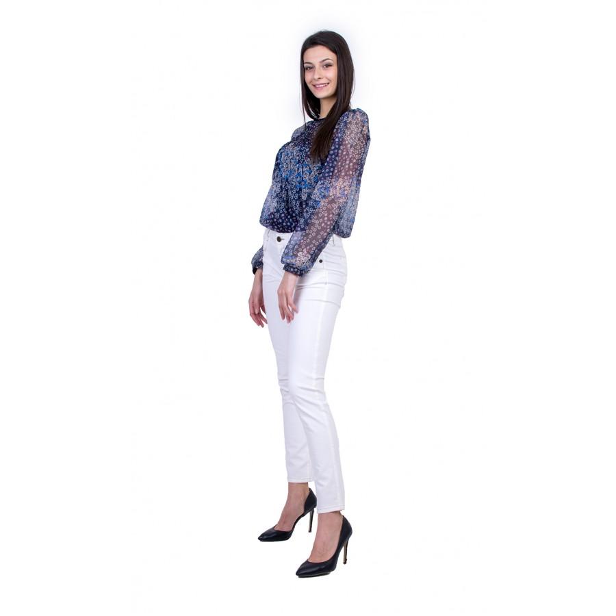 Дамски Комплект от Шифонена Блуза с Бял Панталон 21135 - 167