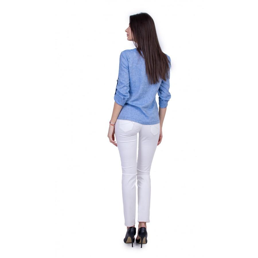 Дамски Комплект от Ленена Блуза с Бял Панталон 21136 - 167