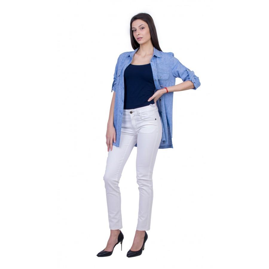 Дамски Комплект от Ленена Риза с Бял Панталон 21139 - 167