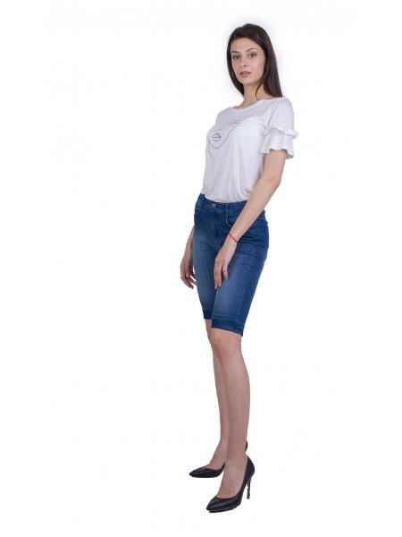 Дамски Комплект от Трикотажна Блуза с Бермуди 21174 - 275