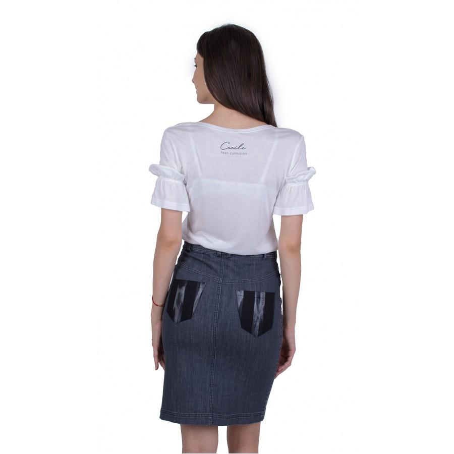 Дамски Сет Бяла Блуза с Дънкова Пола 21174 W - 503