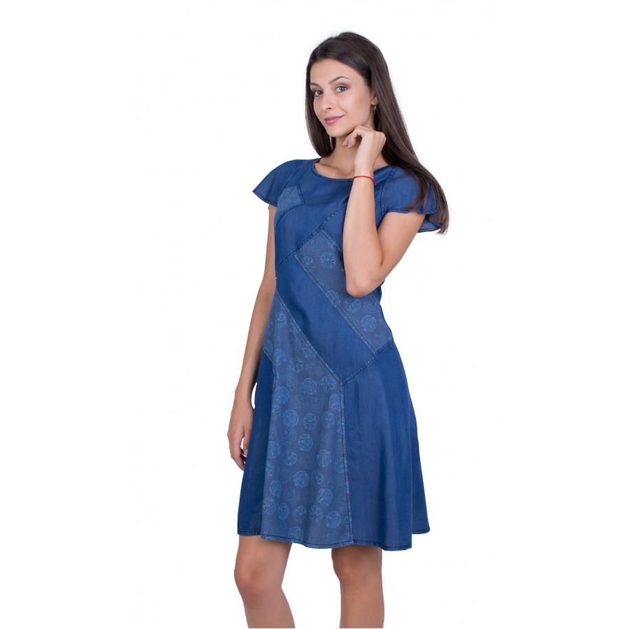 Разкроена дамска дънкова рокля R 17169