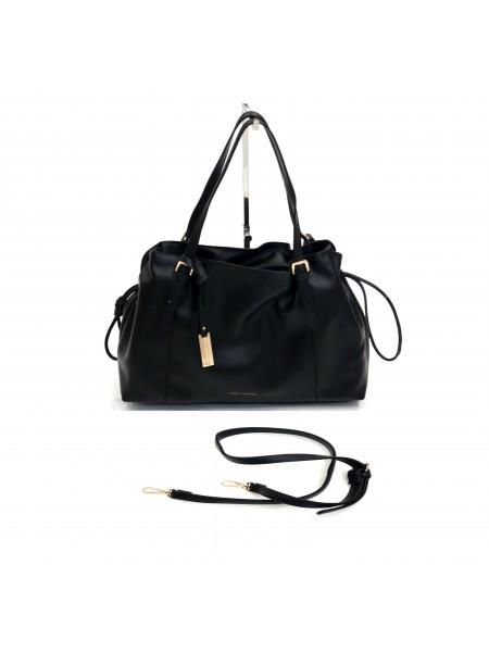 Черна дамска чанта с дълга дръжка и през рамо BAG 1169 BLACK