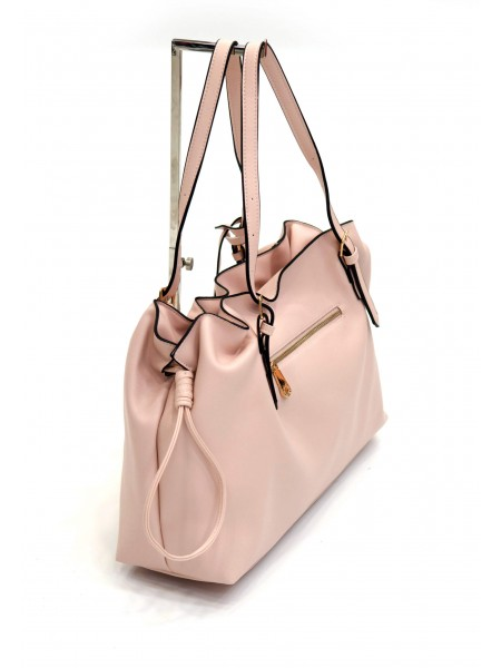 Розова дамска чанта с дълга дръжка и през рамо BAG 1169 PINK