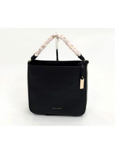 Черна дамска чанта с къса дръжка и през рамо BAG 1174 BLACK