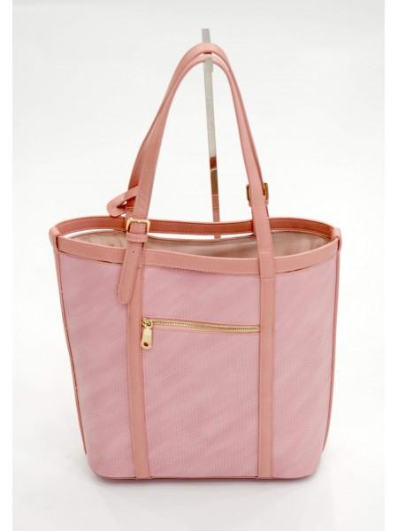 Розова дамска чанта с дълга дръжка и през рамо BAG 1176 PINK
