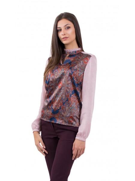 Дамска Блуза с Дълъг Ръкав  в Розово 18506