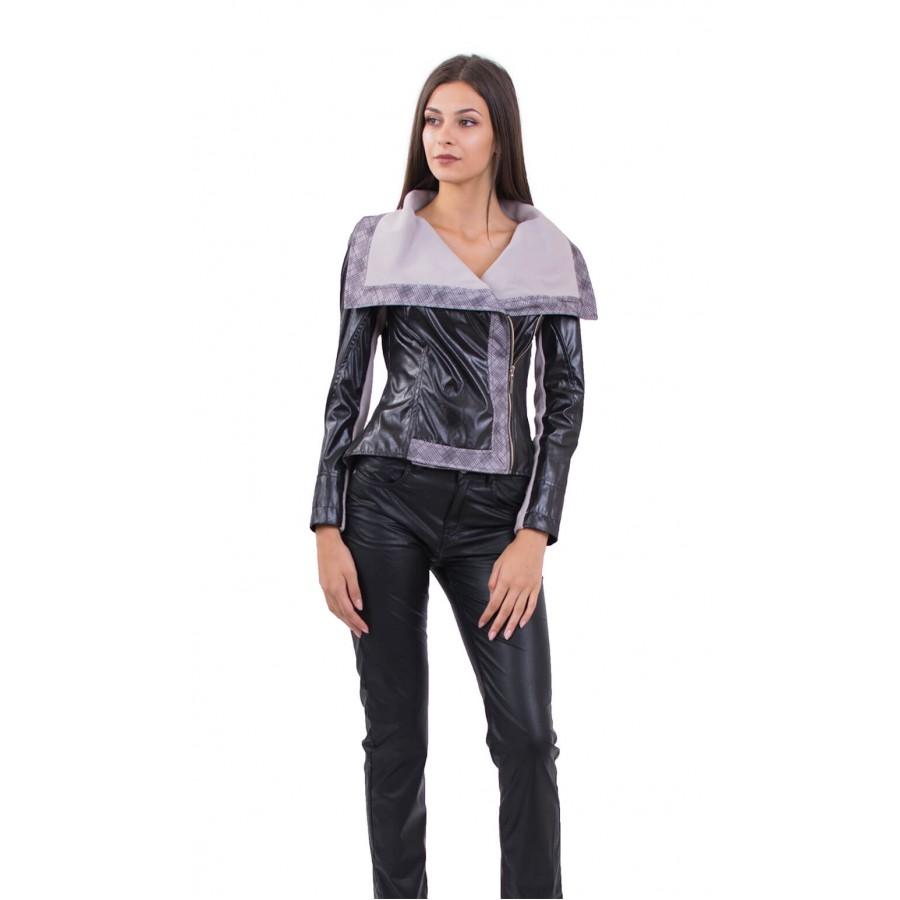 Дамско яке в тъмно кафяво J 18602