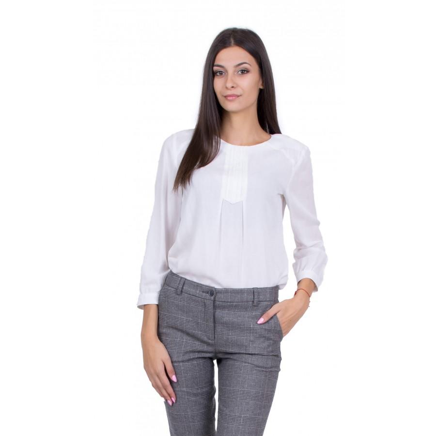 Дамска Бяла Блуза с Дълъг Ръкав 19516 / 2020
