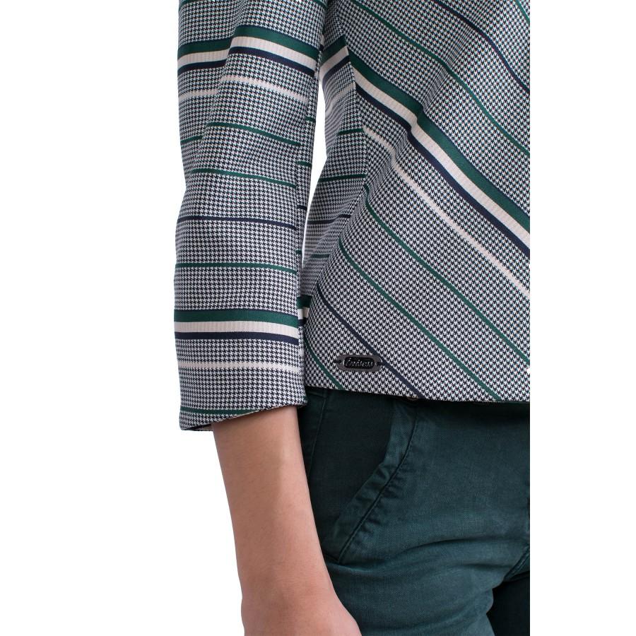 Сиво пепитено сако със зелено, синьо и бяло райе J 19505 Green