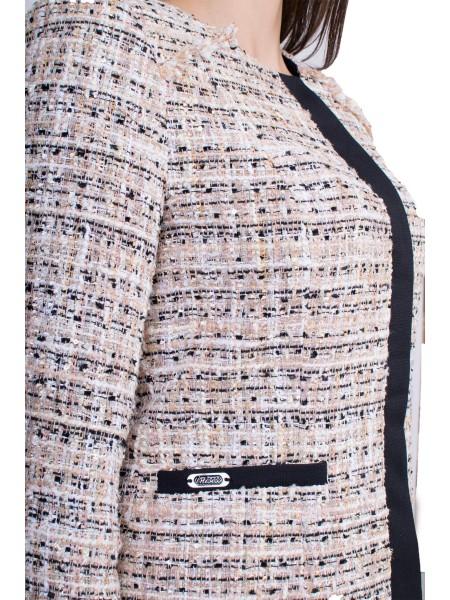 Дамско сако от бежово букле с дълъг ръкав J 19545 / 2020