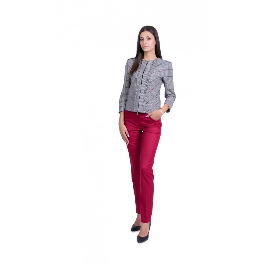 Дамски костюм с панталон в цвят малиново вино JN 19501 - 518 / 2020