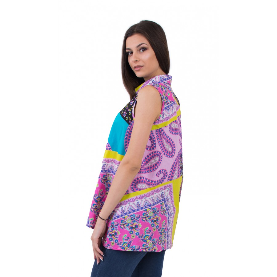 SLEEVELES COLORFUL COTTON SHIRT 16181