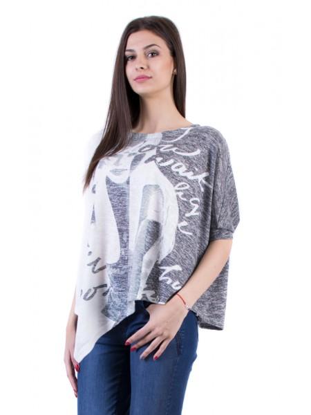 Монохромна Асиметрична Дамска Блуза 17157-s3