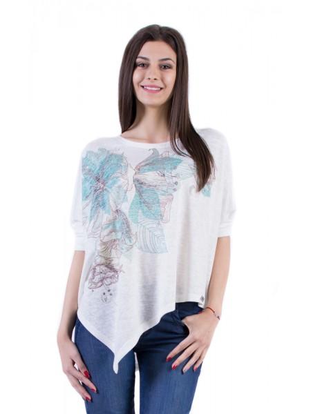 Дамска Асиметрична Бяла Блуза 17157-s4 3/4 ръкав