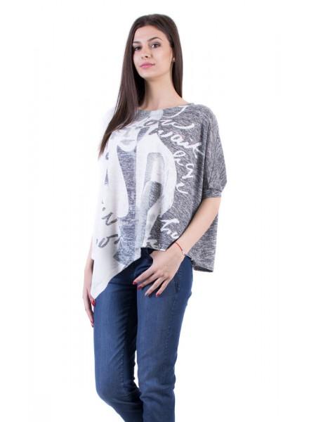 Дамски Комплект от Асиметрична Блуза с Тенсел Деним 17157-s3