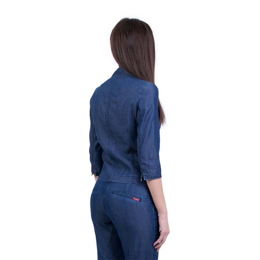 Синьо сако с ревер 17170 и 3/4 ръкави от тенсел деним  на топ цена