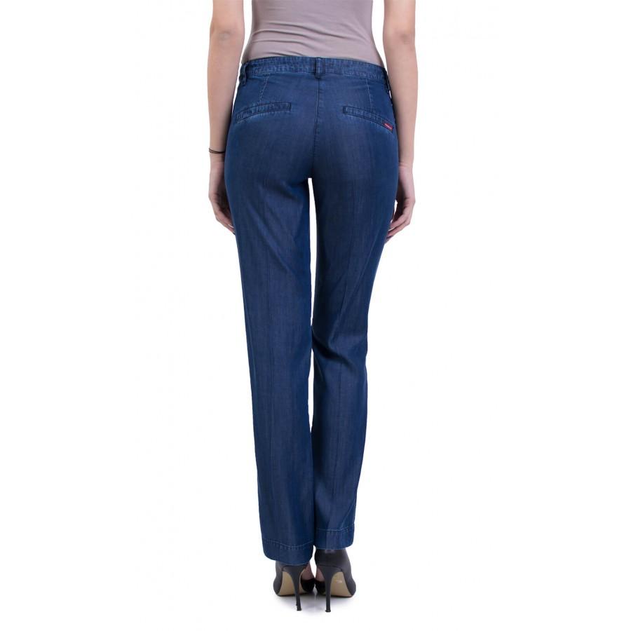 Елегантни дамски летни сини дънки с ръб от тенсел деним N 17159  на топ цена