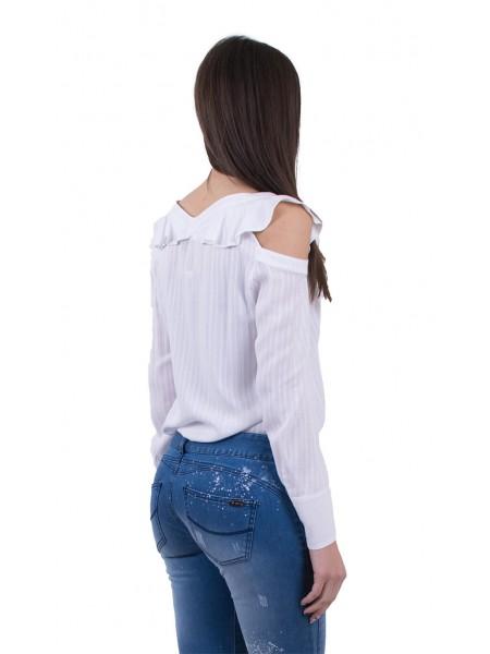 Бяла Дамска Риза с Къдри, Дълаг Ръкав 18122 White