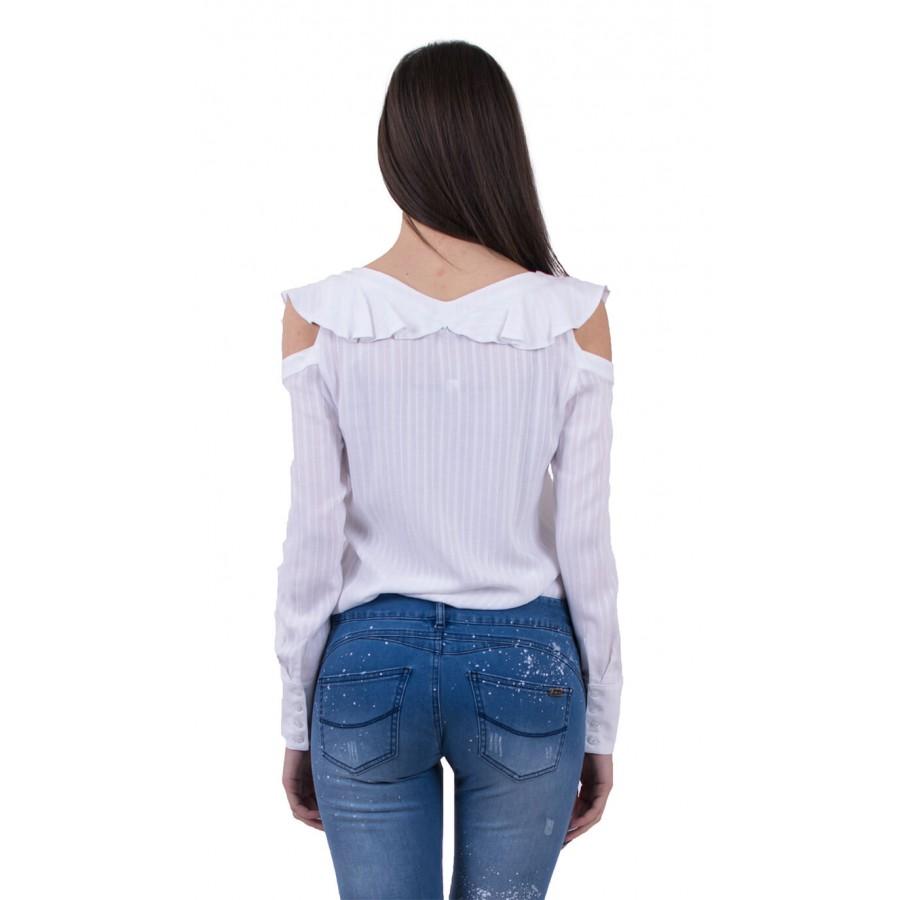 Бяла дамска риза с къдри, дълаг ръкав B 18122 White