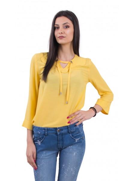 Жълта дамска блузка с 3/4 ръкави и свободен силует B 18132