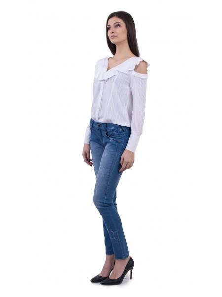 Комбо дамска бяла блуза и третирани дамски дънки  BN 18122 White - 18131