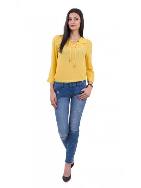 Аутфит Лятна блуза в цвят папая и летни дамски дънки BN 18132 - 131