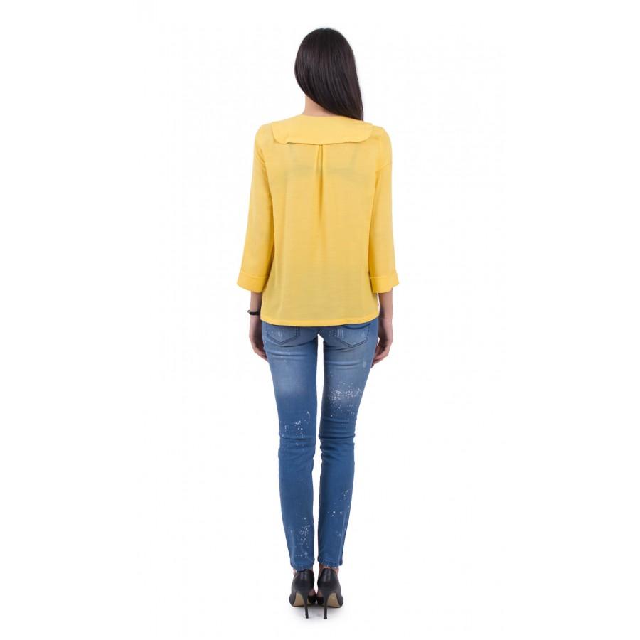 Аутфит Лятна блуза в цвят папая и летни дамски дънки BN B 18132 - 131