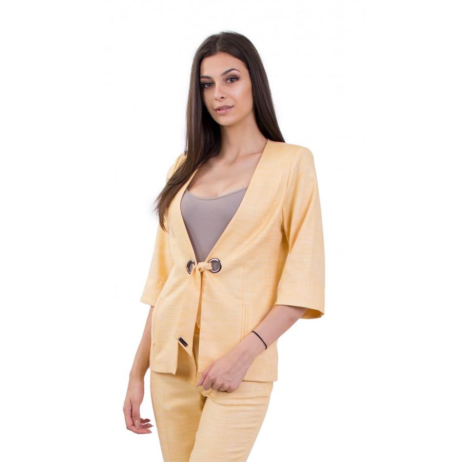 Дамско ленено сако в жълто J 18160 YELLOW
