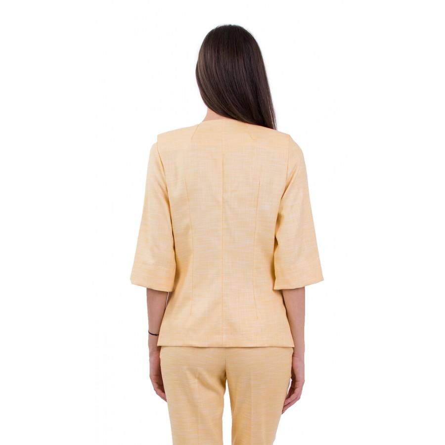 Летен Дамски Костюм с Панталон в Жълто 18160 - 158 WELLOW
