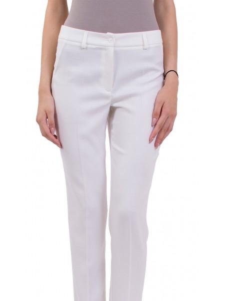 Бял Дамски Летен Панталон във Вид Лен с 9/10 дължина на крачола N 18158 LEN