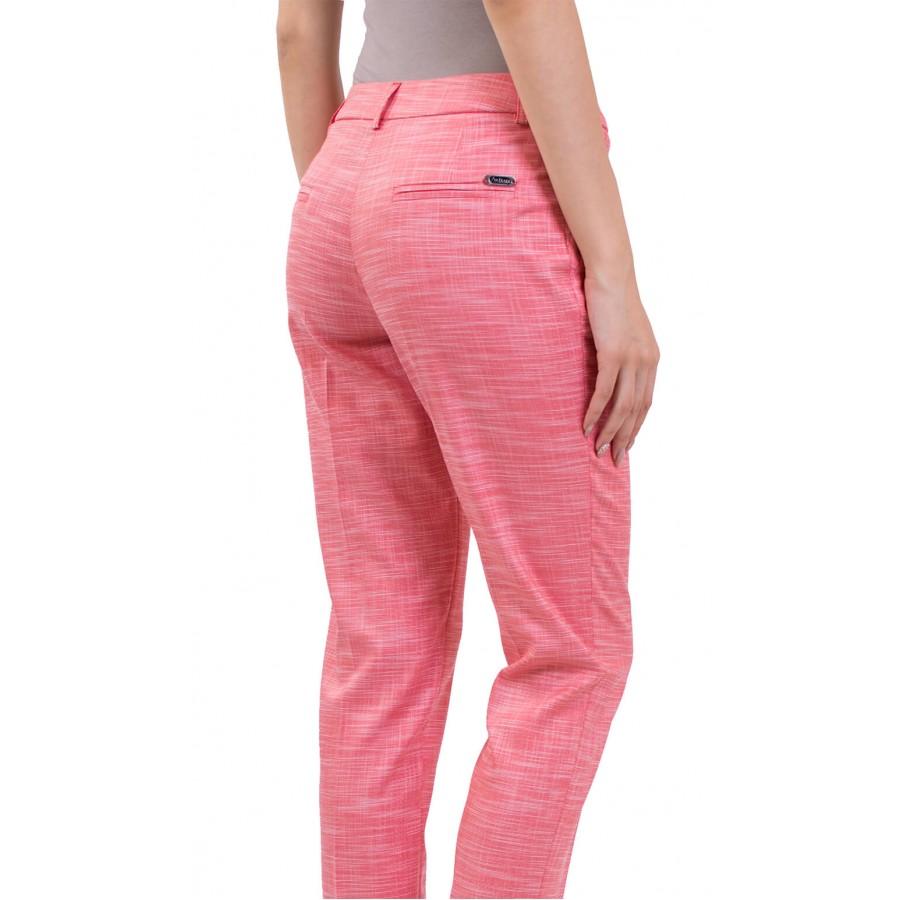 Дамски ленен панталон в цвят корал 9/10 N 18158 Red