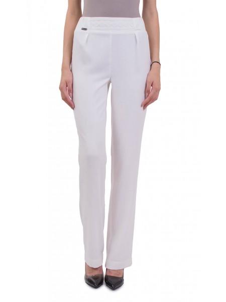 Бял дамски летен панталон с прав крачол  N 18163